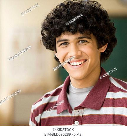 Smiling Caucasian teenage boy