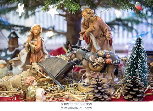 Close up of decorative creche figurines, Bavaria, Germany