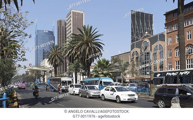 Africa. Kenya. Nairobi, Modern buildings downtown Nairobi on Kenyatta Avenue