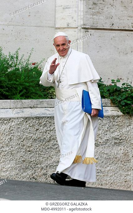 Pope Francis (Jorge Mario Bergoglio) arriving to the Synod Hall in order to partecipate to the works. Vatican City, 6th October 2015