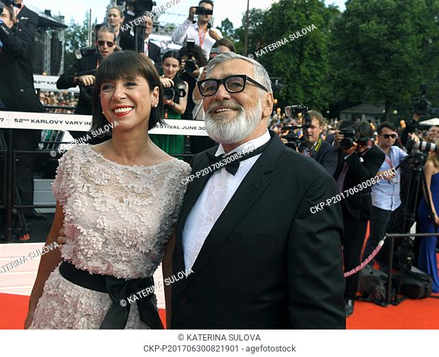President of KVIFF Jiri Bartoska (right) and his wife Andrea (left) are coming to the opening ceremony of the 52nd International Film Festival in Karlovy Vary