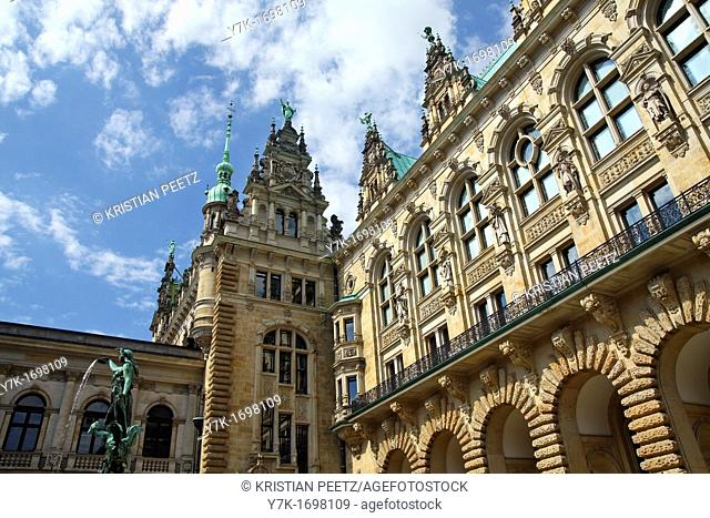 Some architectonical details from the Town-Hall of Hamburg, Germany