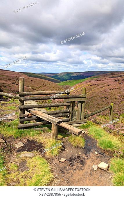 Wooden stile on Pennine Way, Torside Clough, Bleaklow, Derbyshire, Peak District National Park, England, UK