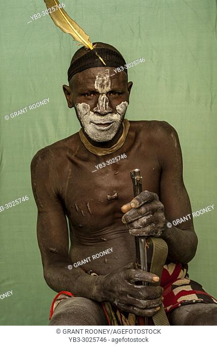 A Portrait Of A Man From The Mursi Tribe, Mursi Village, Omo Valley, Ethiopia