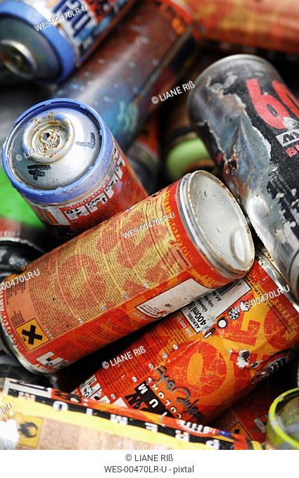 Aerosol Cans, close-up