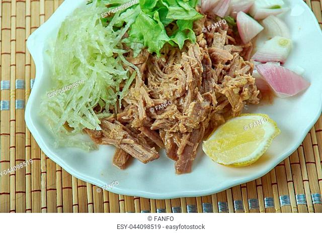 Carnitas - dish of Mexican cuisine originating from the state of Michoacan