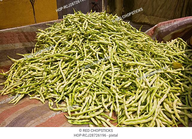 Close-up of a heap of beans, Zhigou, Shandong Province, China