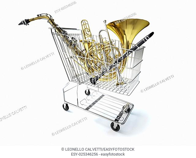 Supermarket trolley, full of wind musical instruments. On white background, with clipping path