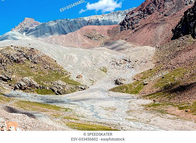 Confluence of rivers in colorful Tien Shan mountains. Kyrgyzstan