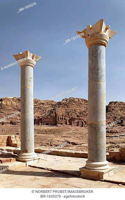 Columns of the Temple of the Winged Lions, Valley of the Royal Tombs, Royal Wall, Petra, the capital city of the Nabataeans, rock city