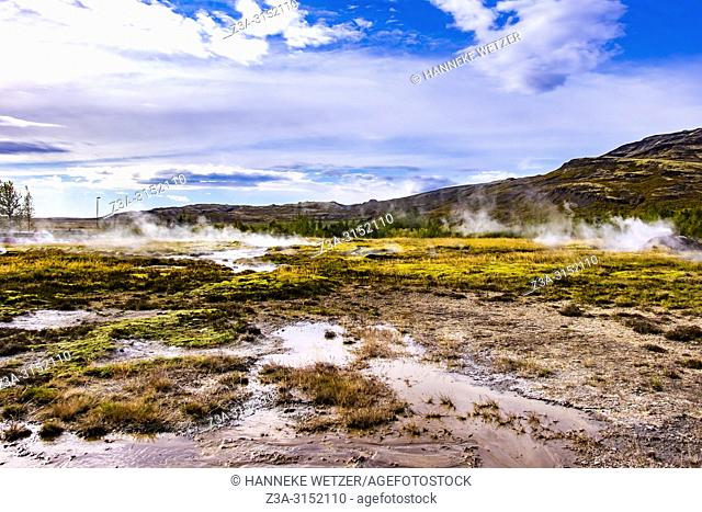 Little hot springs in the geothermal area of Haukadalur Valley, Southwest Iceland