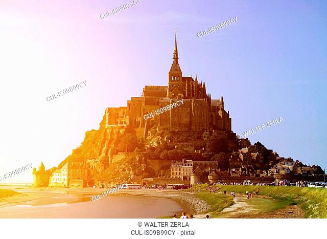 View of beach and Mont Saint-Michel, Normandy, France
