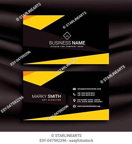 yellow and black dark modern business card