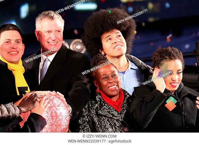 New Year's Eve 2015 in Times Square Featuring: Bill De Blasio, Chirlane De Blasio, Dante De Blasio, Chiara De Blasio Where: New York City, New York