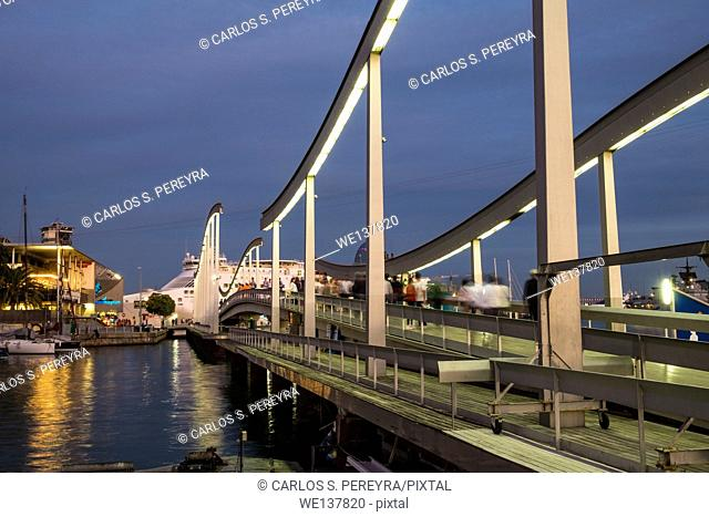 Rambla del Mar in Port Vell, a waterfront harbour in Barcelona, Spain