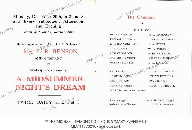 Cast list from promotional flyer for A Midsummer-Night's Dream by William Shakespeare at the Royal Court Theatre, Sloane Square, London in 1915