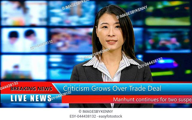 Asian American anchorwoman with lower thirds, TV news broadcast concept