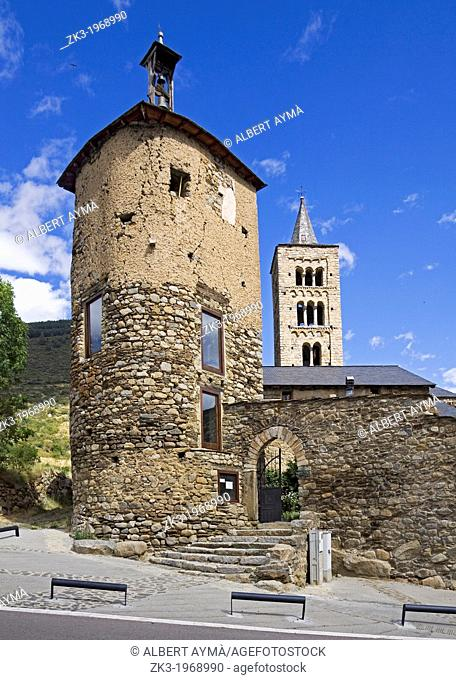 Medieval tower and church of Sant Just i Sant Pastor de Son