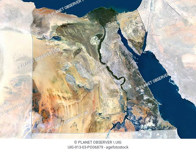Satellite view of Egypt (with country boundaries and mask). This image was compiled from data acquired by Landsat 8 satellite in 2014