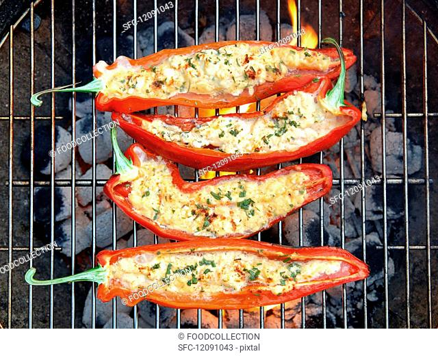Grilled red peppers with sheep's cheese and rosemary