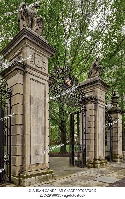 Princeton University Main Entrance Gate - . View to the iron gates and the official insignia at Princeton University's Nassau Street entrance to campus
