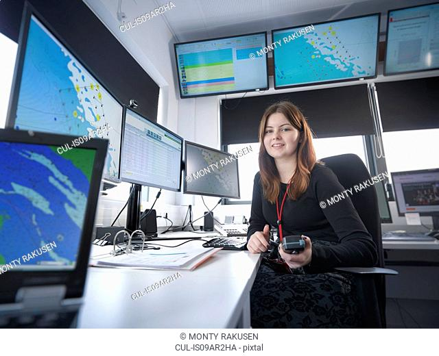 Portrait of operator in offshore windfarm control room