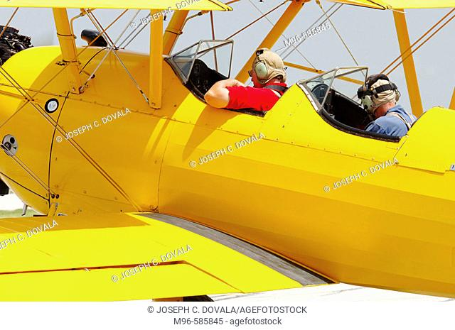 Stearman biplane ready to take off at airshow. Windsor, Canada