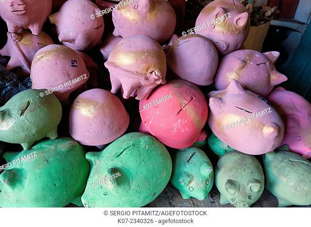 Piggy banks for sale at local market, Granada, Nicaragua