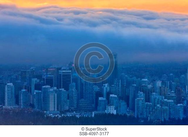 Canada, British Columbia, Vancouver, View of Stanley Park from Shangri-La Hotel
