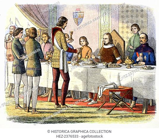Prince Edward serves John of Artois at table after having defeated him at Poitiers, 1356 (1864). Edward the Black Prince (1330-1376) consoles John of Artois...