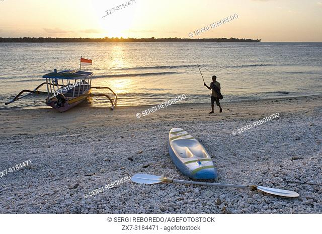 Scenic Landscape. Sunset at Gili Meno Island. Lombok, Indonesia. In the northwest of the island is the Café Diana, the best place to see the magnificent sunsets...