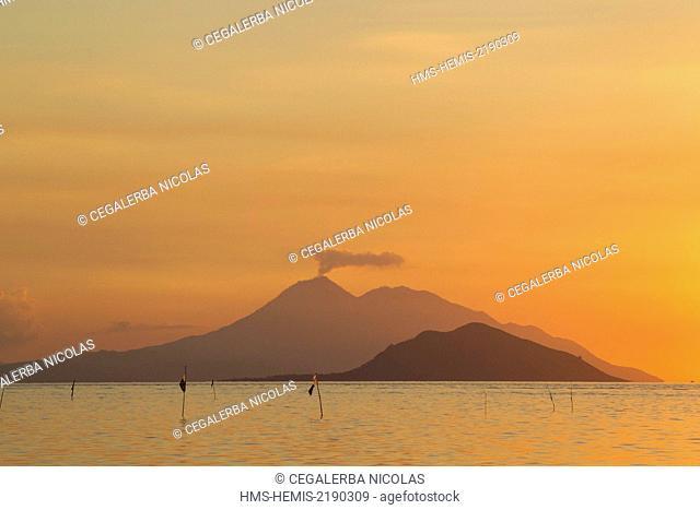 Indonesia, Lesser Sunda Islands, Alor archipelago, Pantar Island, Kabir, sunset on Batang Island and Lambata Island