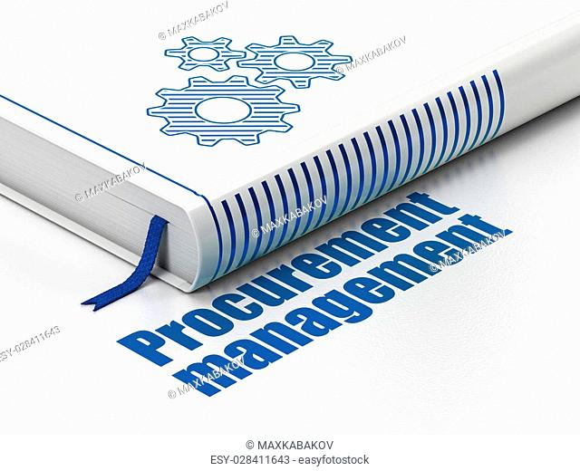 Finance concept: closed book with Blue Gears icon and text Procurement Management on floor, white background, 3D rendering