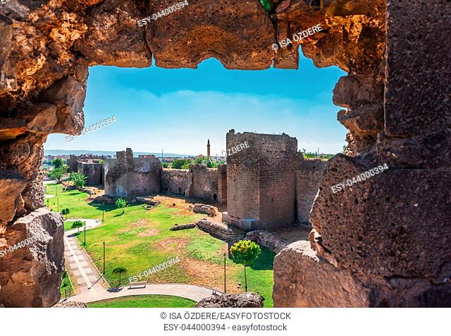 View of ancient walls of historical Diyarbakir's city walls in Sur region in central of Diyarbakir,Turkey