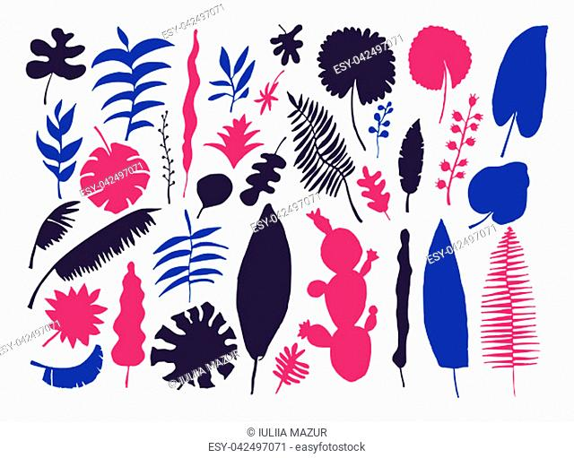 Vector set of bright tropical plants. Colorful hand-drawn Leaves, Inflorescences, Flowers. Blue Black Pink colors