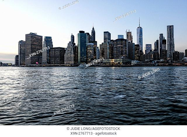 Looking at the Lower Manhattan, NYC, Financial District from Brooklyn, Just Before Sunset