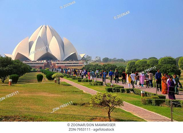 Lotus temple with a line of pilgrims, New Delhi, India