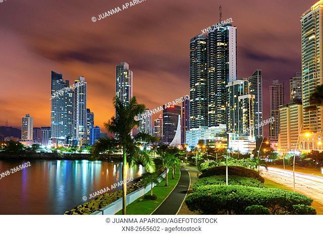 Cinta Costera at Night, Panama City, Republic of Panama, Central America