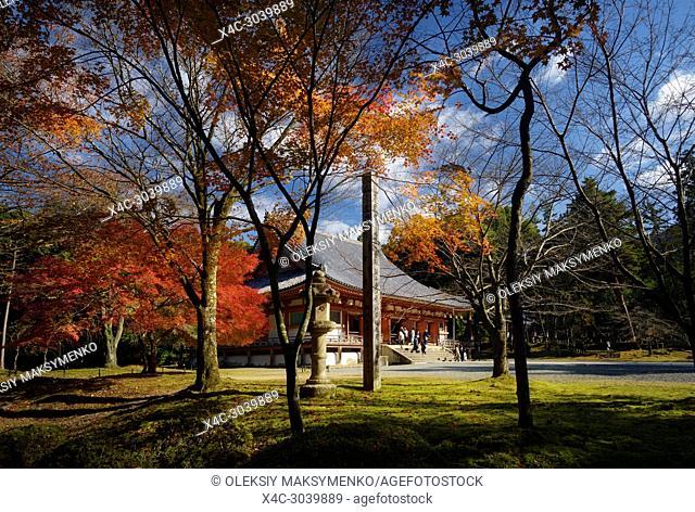 Kondo, central hall of Shimo-Daigo part of Daigoji complex in colorful autumn nature scenery. Daigo-ji, Shingon Buddhist temple in Fushimi-ku, Kyoto, Japan
