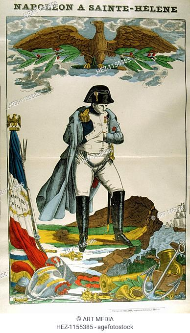 'Napoleon on St Helena', 1815-1821 (1826). Napoleon Bonaparte (Napoleon I) (1769-1821), Emperor of France 1804-1815. Above his head is an eagle carrying a...