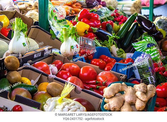 Selection of fresh and organic vegetables at the farmers market in Krakow, Poland