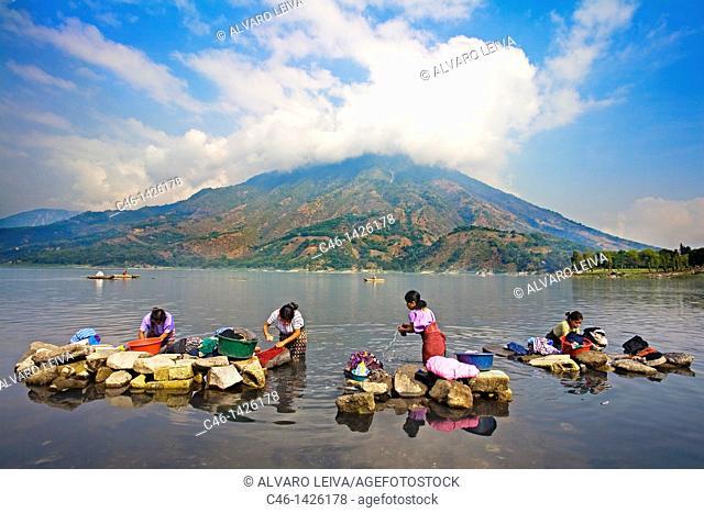 Boats, Atitlan volcanoe on the background, Santiago Atitlan, Guatemala