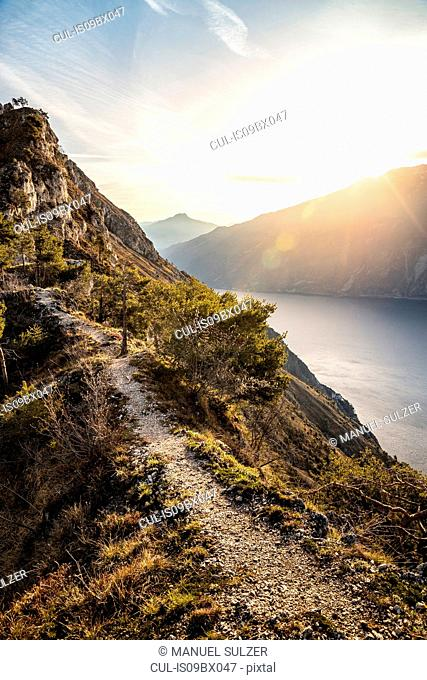 Sunrise over lake Garda from the western side - above Limone sul Garda, Lombardia, Italy