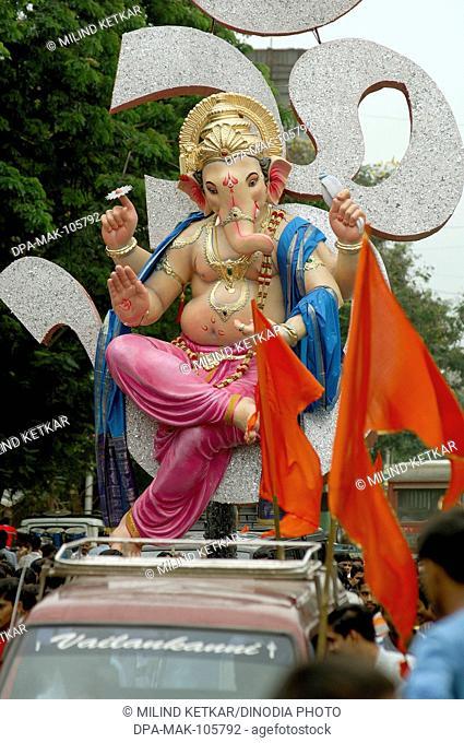 Elephant headed god Ganesha Ganapati Idol procession at Parel ; ready for Ganesh Festival ; Bombay Mumbai ; Maharashtra ; India