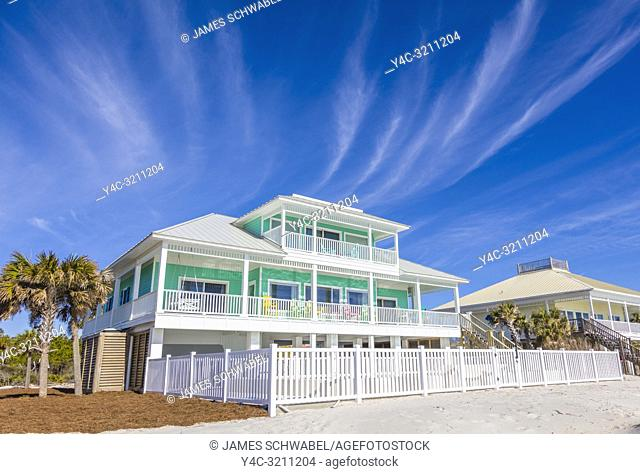 Houses on Gulf of Mexico beach on St George Island in the panhandle or Forgotten Coast area of Florida in the United States