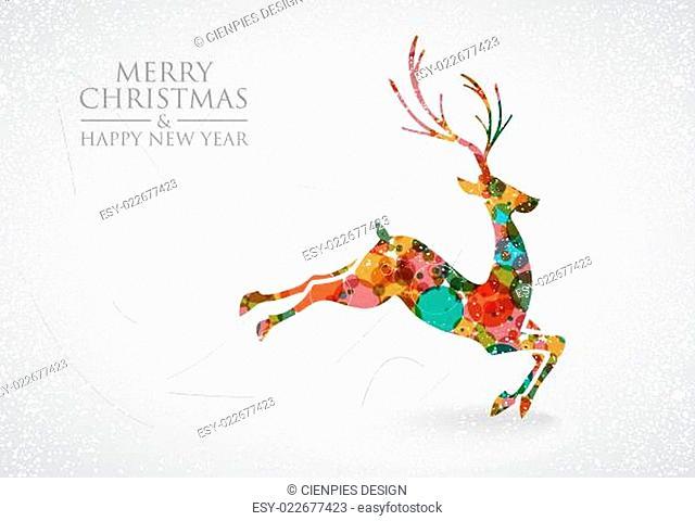 Merry Christmas colorful reindeer greeting card