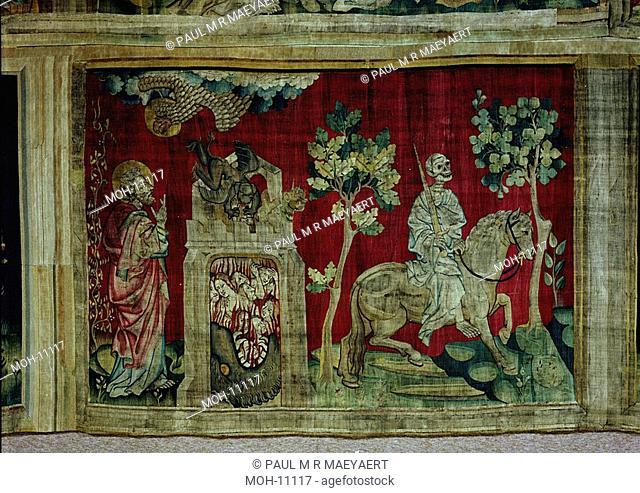 La Tenture de l'Apocalypse d'Angers, Quatrième sceau : le cheval livide et la mort 1,60 x 2,30m, das vierte Siegel: das fahle Pferd und der Tod