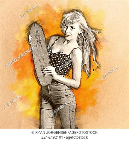 Digital drawing of a cute old-fashioned girl in polka dot top and denim jeans holding grunge wooden skate deck on watercolour splash background