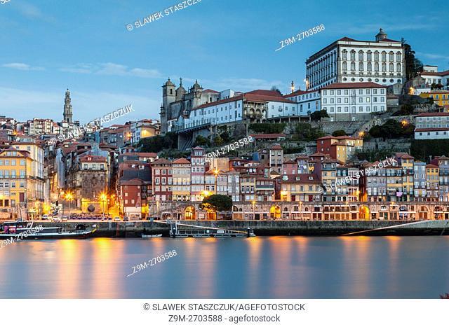 Sunrise at Ribeira, seen across Douro river, Porto, Portugal