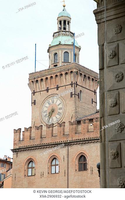 Clock Tower, City Hall, Bologna; Italy
